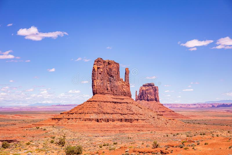 Monument Valley Tribal Park in the Arizona-Utah border, USA. Monument Valley, Navajo Tribal Park in the Arizona-Utah border, United States of America. Red rocks royalty free stock photo