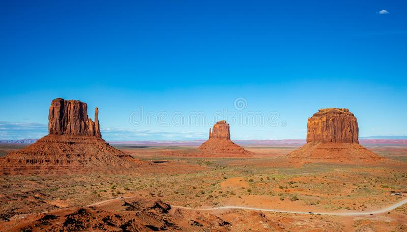 Monument Valley Tribal Park in the Arizona-Utah border, USA. Monument Valley, Navajo Tribal Park in the Arizona-Utah border, United States of America. Red rocks stock image
