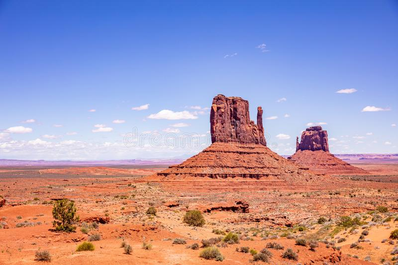 Monument Valley Tribal Park in the Arizona-Utah border, USA. Monument Valley, Navajo Tribal Park in the Arizona-Utah border, United States of America. Red rocks stock images