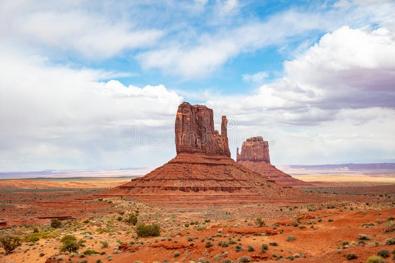 Monument Valley Tribal Park in the Arizona-Utah border, USA. Monument Valley, Navajo Tribal Park in the Arizona-Utah border, United States of America. Red rocks royalty free stock image
