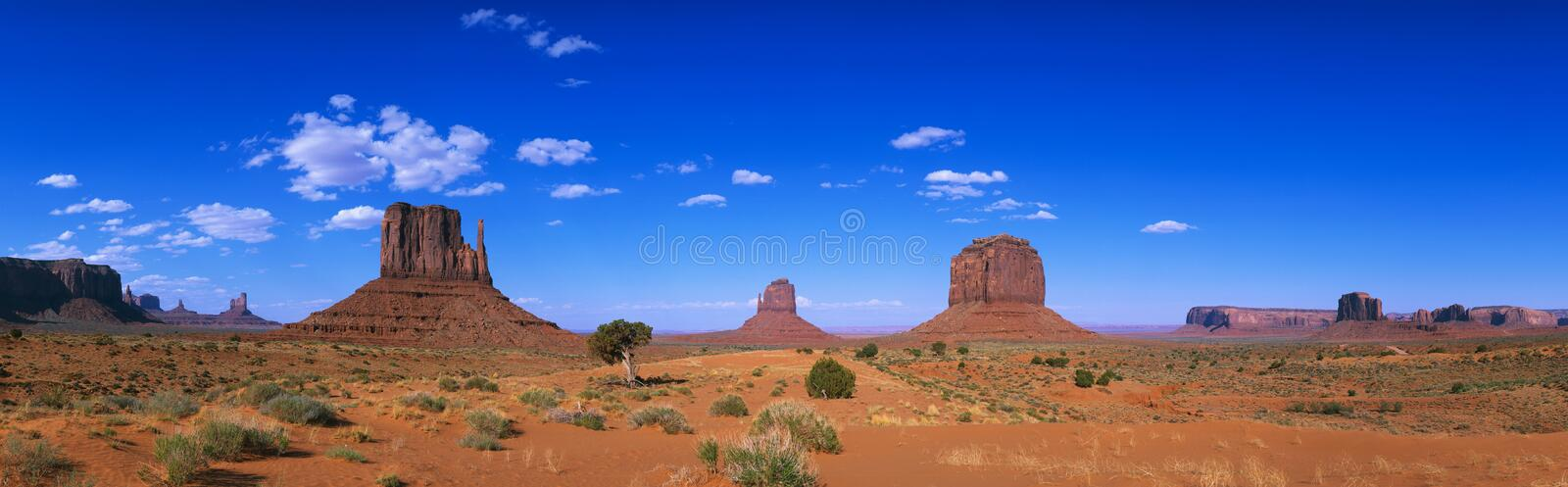 Monument Valley Tribal Park, AZ. This is a 360 degree panoramic image of Monument Valley Navajo Tribal Park at the Arizona/Utah border stock image