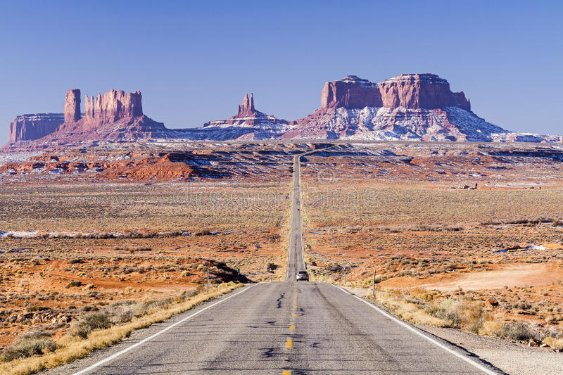 Monument Valley Two Lane Highway stock photo