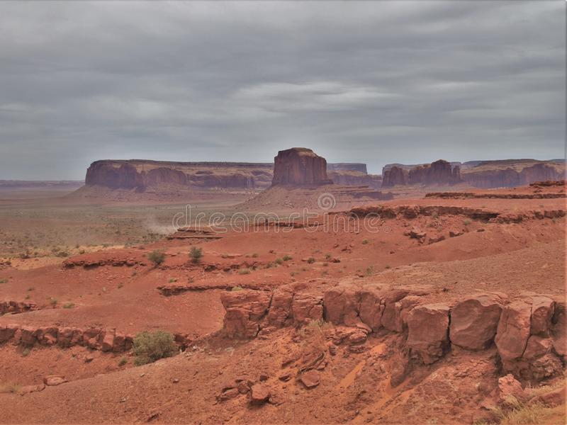 Monument Valley under Cloudy Skies stock photo
