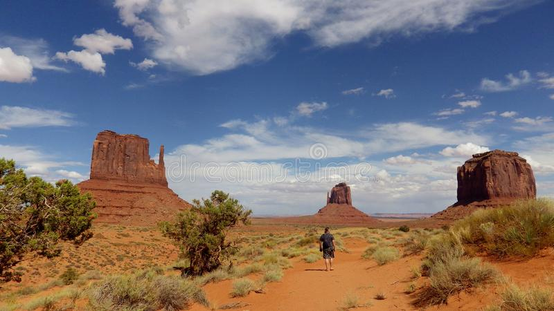 Monument Valley, Utah, United States. Unique rock formations in red desert known as Monument Valley stock photography