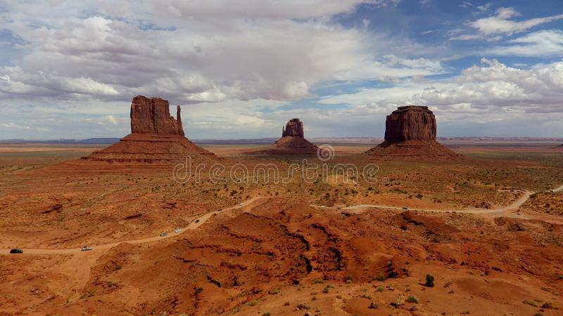 Monument Valley, Utah, United States. Unique rock formations in red desert known as Monument Valley stock photo