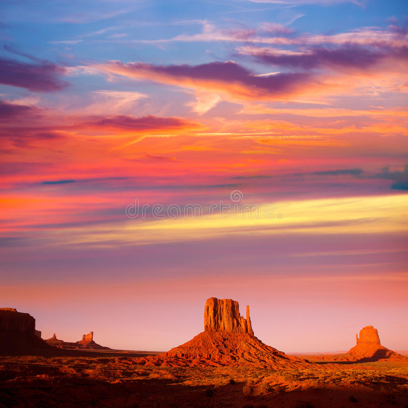 Monument Valley West Mitten and Merrick Butte sunset stock photography