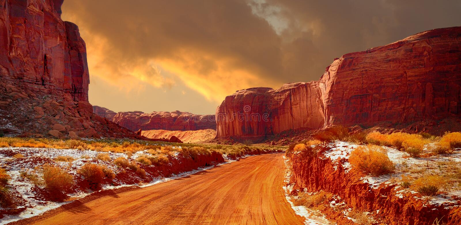 Monument valley In Winter royalty free stock photo