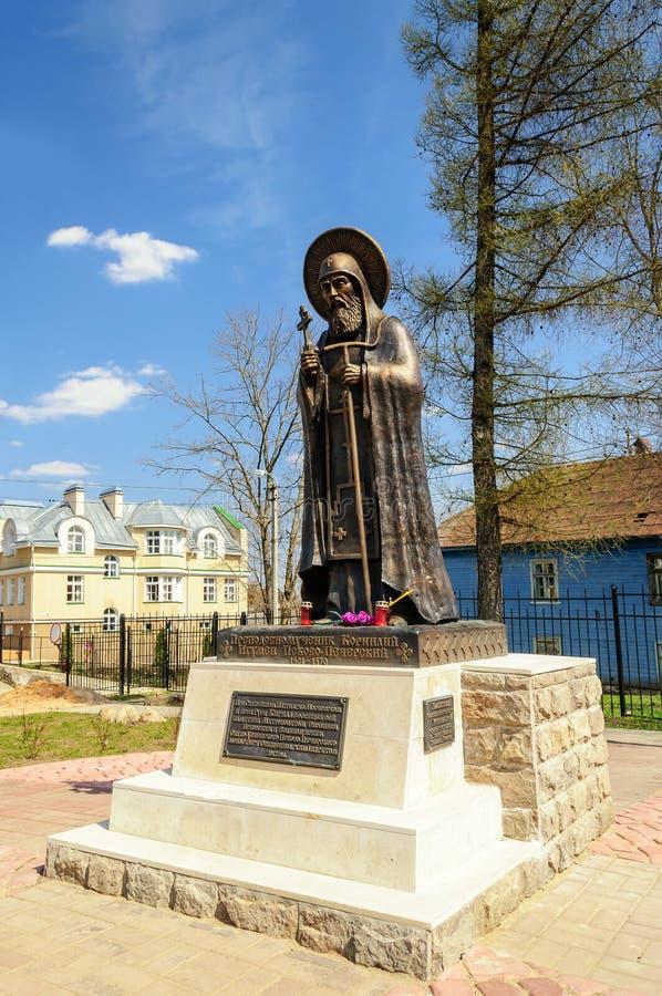 Monument van abt Cornelius, Pskov-Holen Klooster stock fotografie