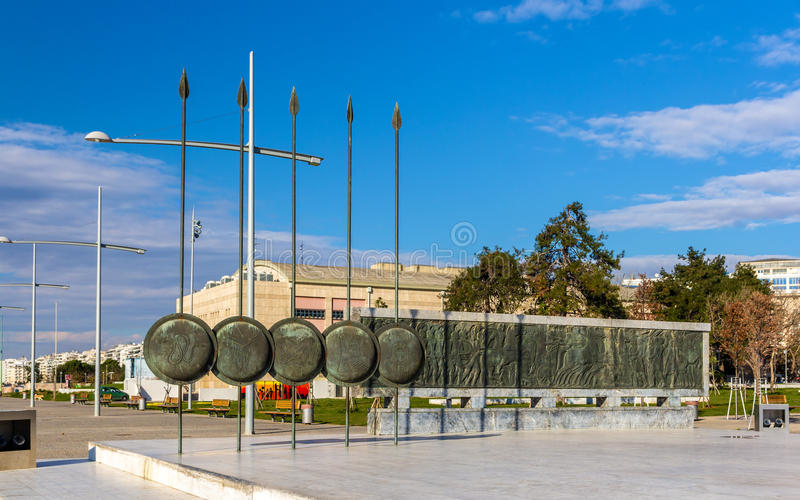 Monument van Alexander The Great in Thessaloniki stock foto