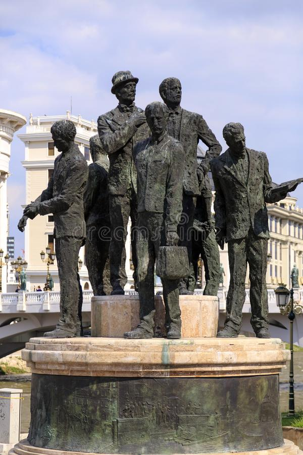 Monument van Boatmen van Salonica in Skopje, Macedonië stock foto