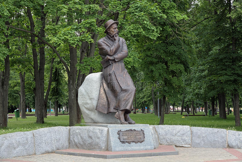 Monument van Francisak Bahusevic in Smorgon, Wit-Rusland stock fotografie