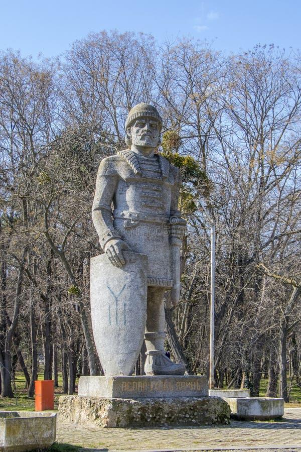 Monument van Khan Asparuh van Bulgarije Varna 09 02 2018 stock fotografie