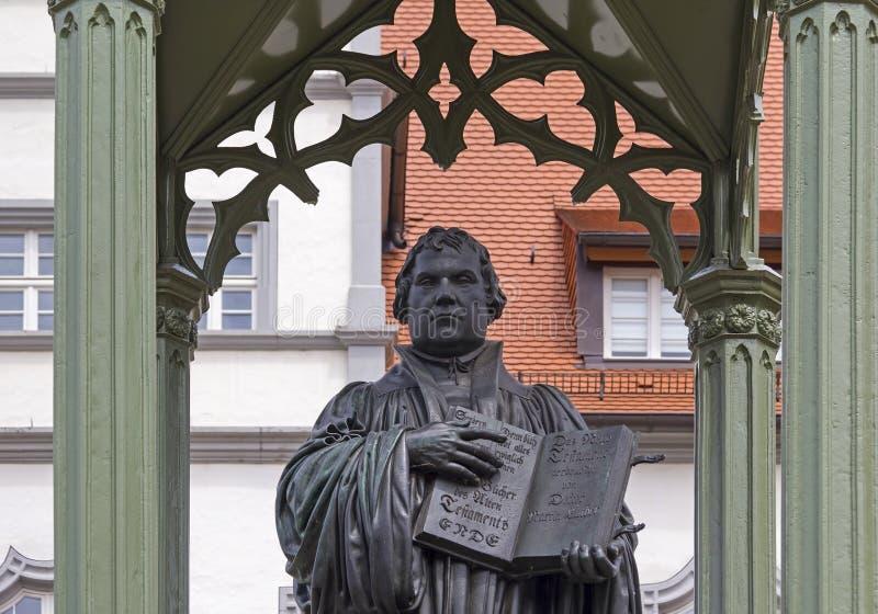 Monument van Martin Luther in Wittenberg royalty-vrije stock afbeeldingen