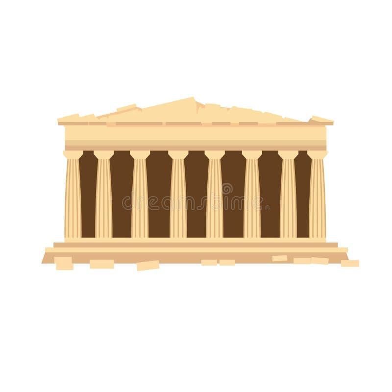 Monument van oude architectuur, Griekse tempel van Parthenon van Athene stock illustratie