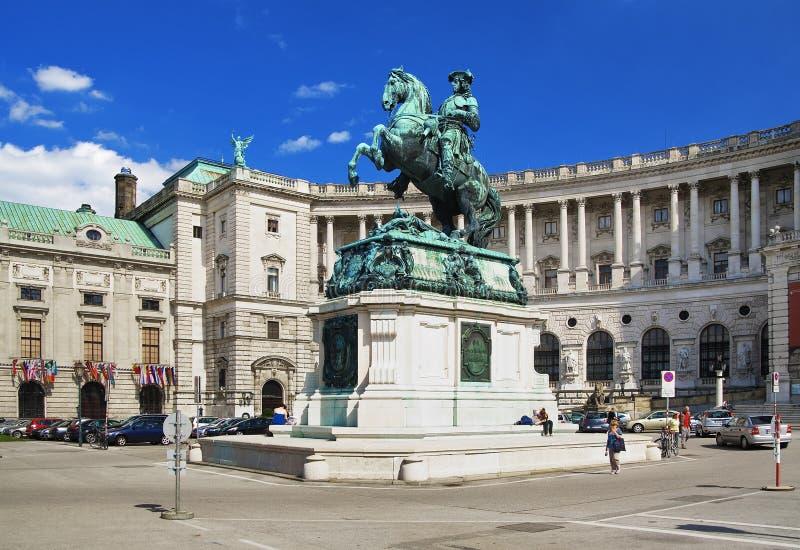 Monument van Prins Eugene van Savooiekool in Wenen stock foto's