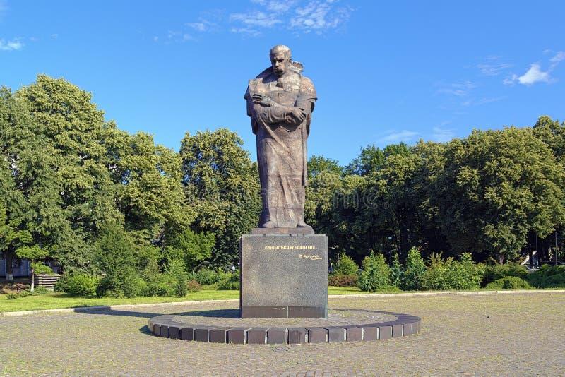 Monument van Taras Shevchenko in Uzhhorod, de Oekraïne stock foto's