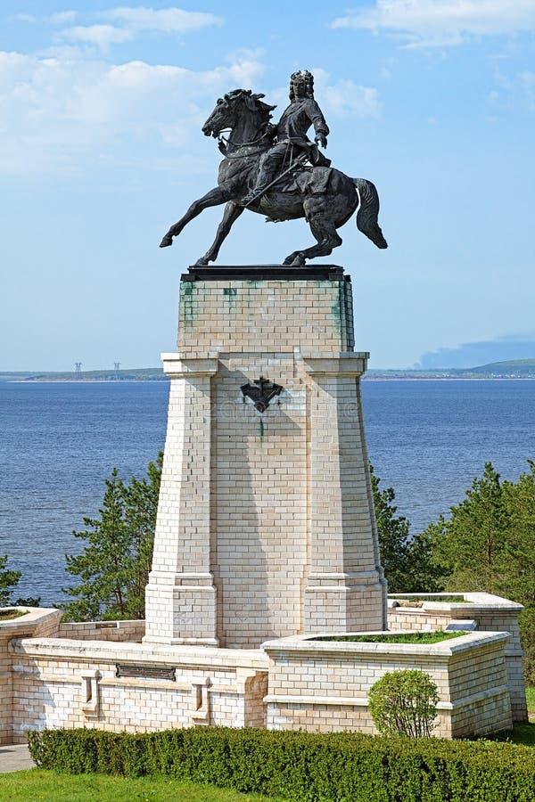 Monument of Vasily Tatishchev in Togliatti, Russia stock images