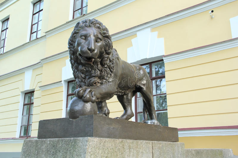 Monument in Velikiy Novgorod. Monument of lion in Velikiy Novgorod stock images