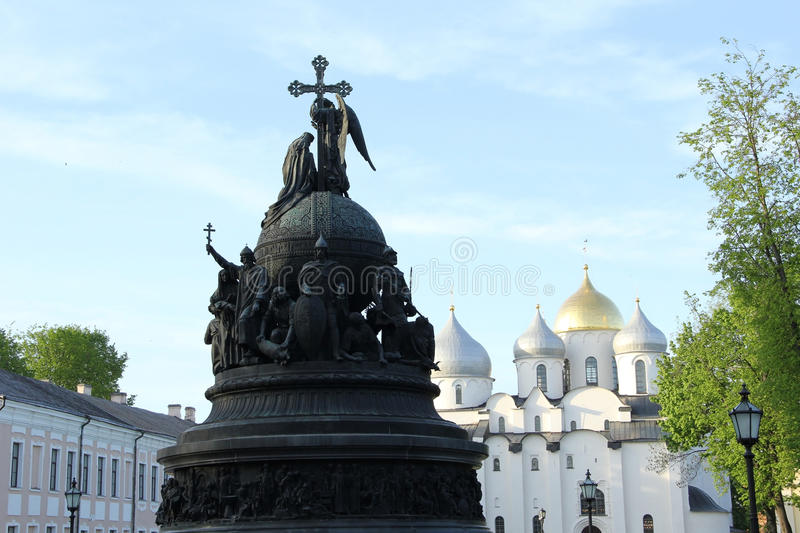 Monument in Velikiy Novgorod. Monument one thousand years of Russia in Velikiy Novgorod stock photo
