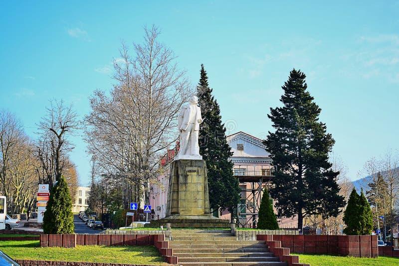 Monument VI Lenin in het stadsvierkant van Tuapse, Krasnodar-grondgebied, Rusland royalty-vrije stock foto's