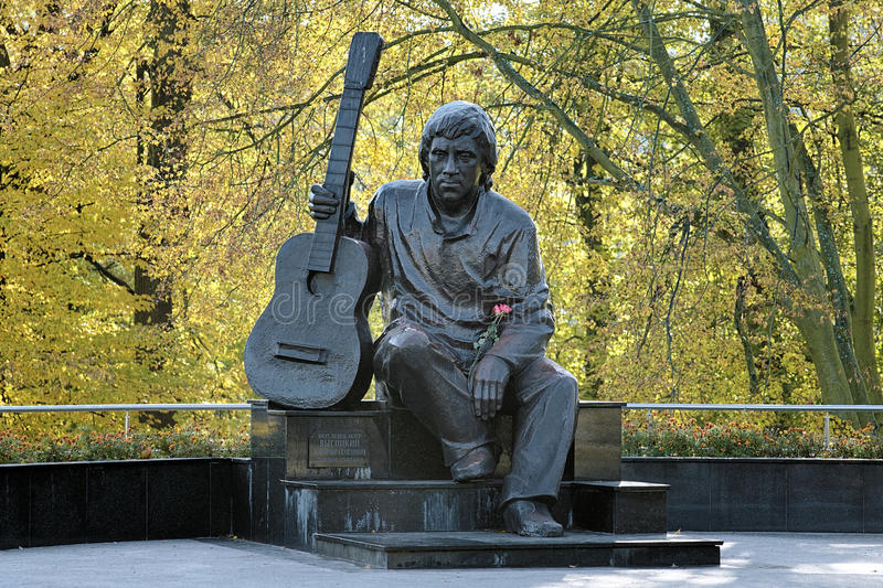 Monument of Vladimir Vysotsky in Kaliningrad, Russia stock photos