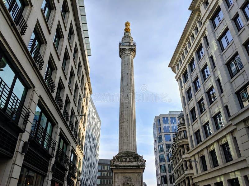 Monument voor de grote brand in Londen, Groot-Brittannië, VK royalty-vrije stock fotografie