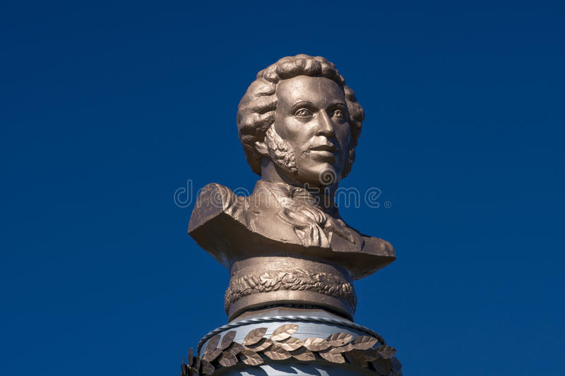 The monument was erected in memory of the Great Russian poet A. S. Pushkin stock images