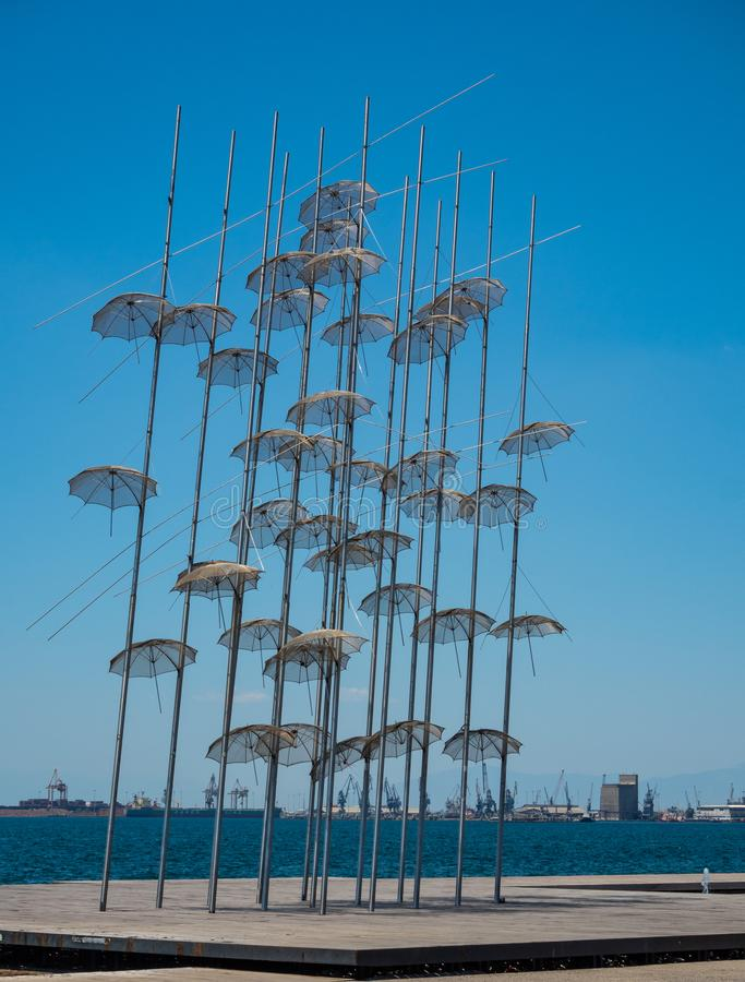 Monument on the waterfront of Thessaloniki - The Zongolopoulos Umbrellas, Greece royalty free stock photography