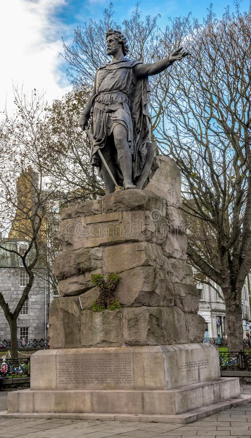 A monument of William Wallace, national hero of Scotland, Aberdeen, United Kingdom. November 2017 stock photo