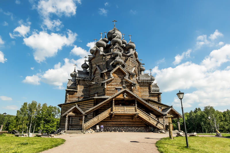 The monument of wooden architecture Pokrovsky graveyard in St. P stock photography