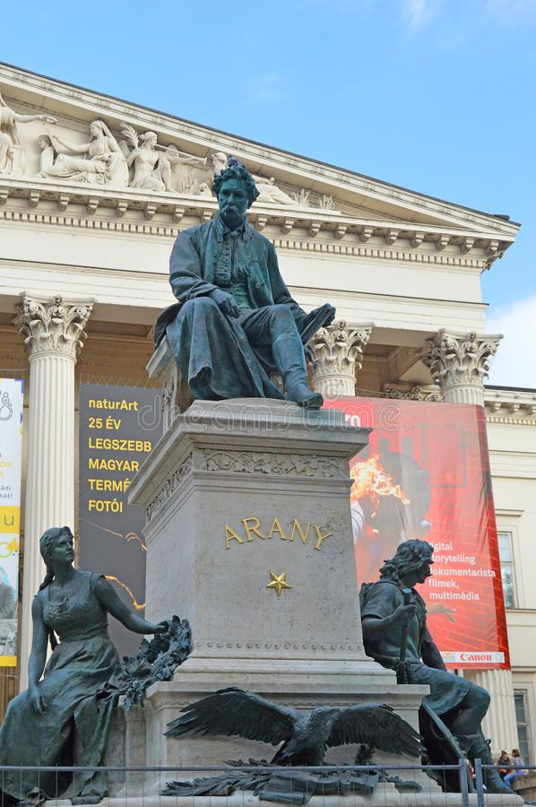János Arany Monument at The Hungarian National Museum. The monument of writer János Arany, who is best known for his Toldi trilogy. The monument, created royalty free stock photography