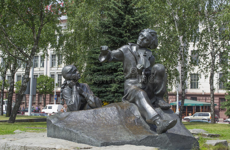 The monument of Yakub Kolas and heroes of his works stock images