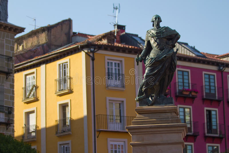 Monument zu Carlos III in Piazza-Bürgermeister (Bürgermeister Square) von Burgos, Spanien stockbild