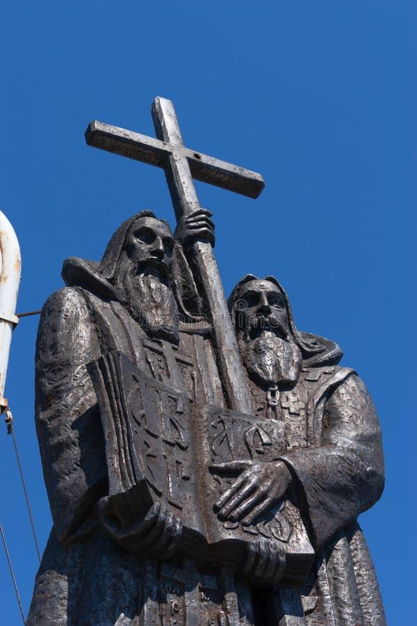 Monument zu Cyril und Methodius auf dem Standort der Stadt stockbild
