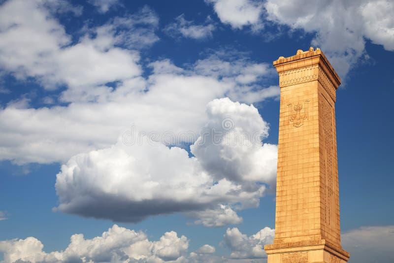 Monument zu den Helden der Leute am Tiananmen-Platz, Peking lizenzfreies stockbild