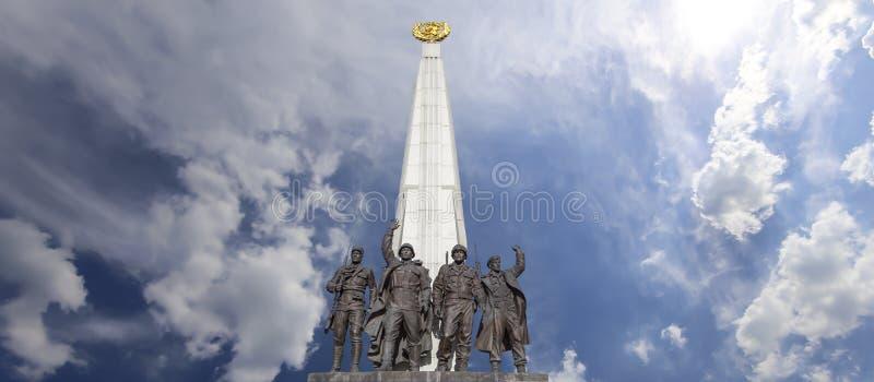 Monument zu den L?ndern von Antihitler-Koalition, Gassen-Anh?nger in Victory Park auf Poklonnaya-H?gel, Moskau, Russland stockfotografie