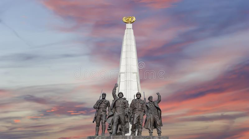 Monument zu den L?ndern von Antihitler-Koalition, Gassen-Anh?nger in Victory Park auf Poklonnaya-H?gel, Moskau, Russland lizenzfreies stockbild