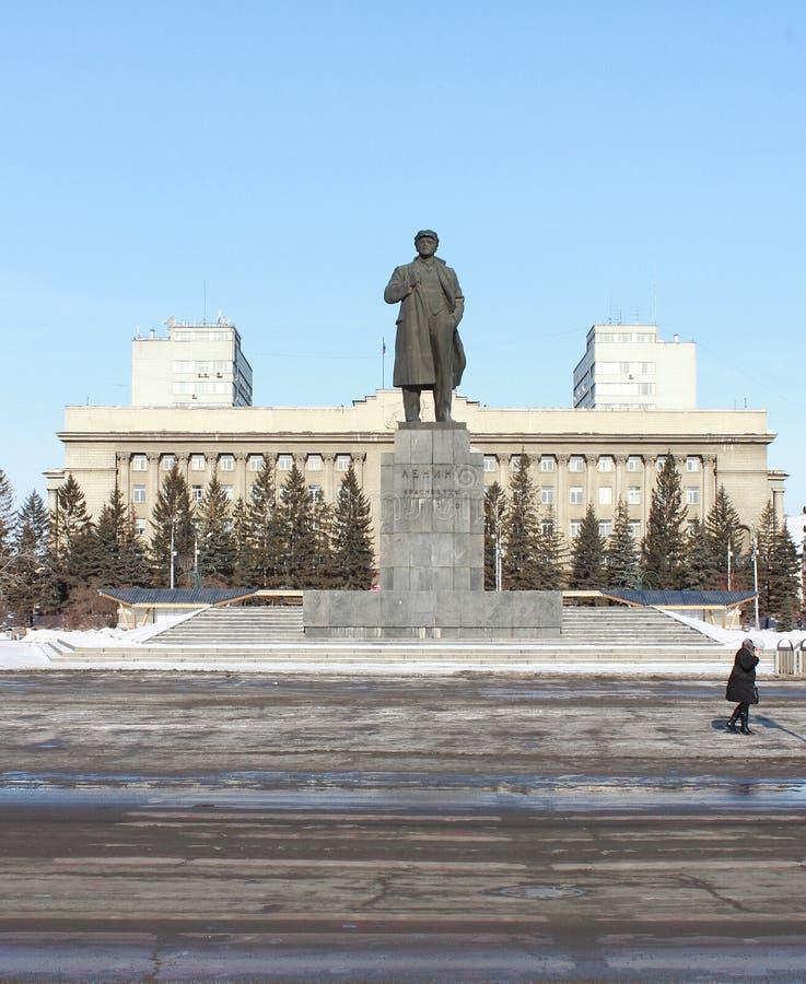 Monument zu Lenin auf Revolutions-Quadrat krasnoyarsk lizenzfreies stockbild