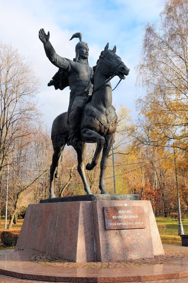 Monument zu Manas Der großmütige Held des Kyrgyz Eposes Moskau, Russland, Park der Freundschaft stockfotografie