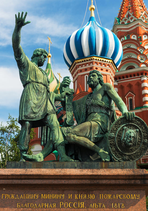 Monument zu Minin und zu Pozharsky stockfoto