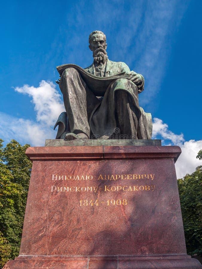 Monument zum berühmten Komponisten Rimsky-Korsakov im Park in t lizenzfreie stockfotos
