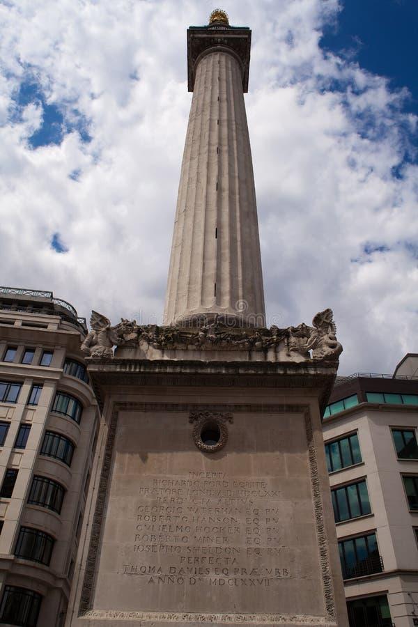 Monument zum großen Feuer von London stockbild