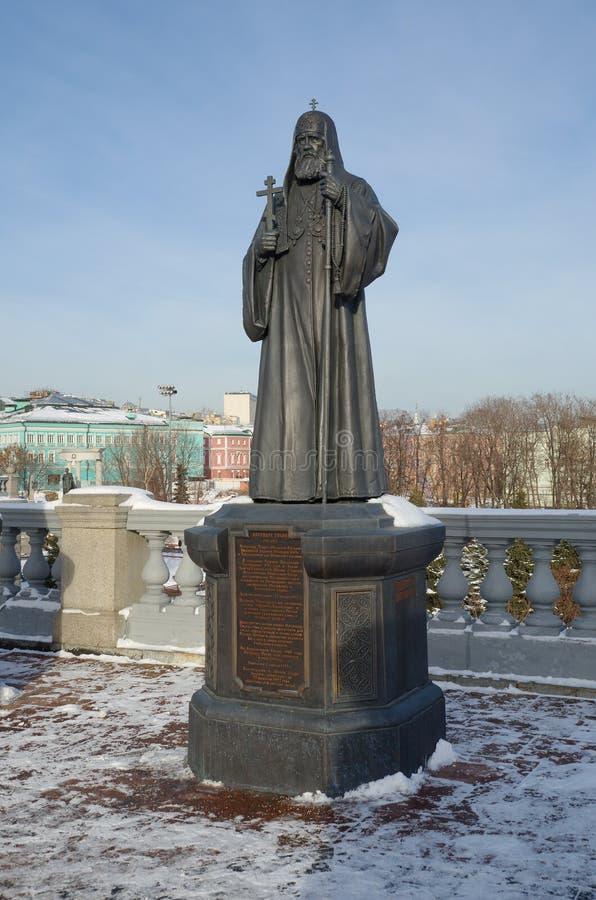 Monument zum Patriarchen Tikhon in Moskau, Russland lizenzfreie stockfotos