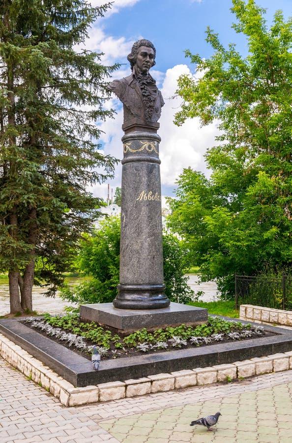Monument zum russischen architector Lvov in Torzhok, Russland lizenzfreies stockbild