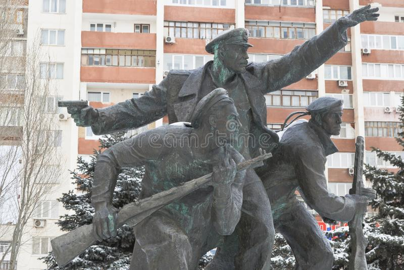 Monument zur Yevpatoriya-Landung auf dem Massengrab im komplexen Erinnerungs`` Krasnaya Gorka in Evpatoria, Krim stockbilder
