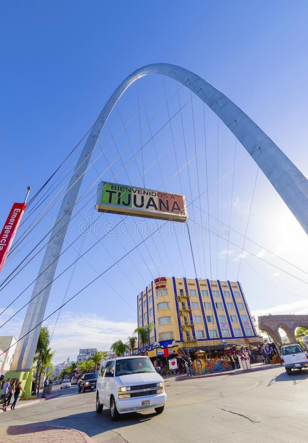 Monumental arch, Tijuana, Mexico. The Millennial Arch (Arco y Reloj Monumental), a metallic steel arch at the entrance of the city of Tijuana in Mexico, at zona royalty free stock images