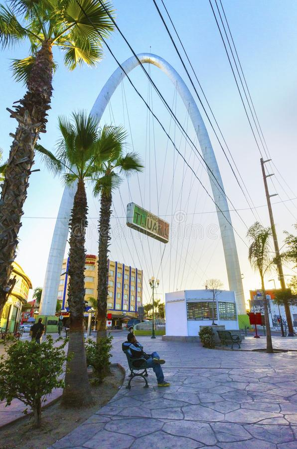 Monumental arch, Tijuana, Mexico. The Millennial Arch (Arco y Reloj Monumental), a metallic steel arch at the entrance of the city of Tijuana in Mexico, at zona royalty free stock photography