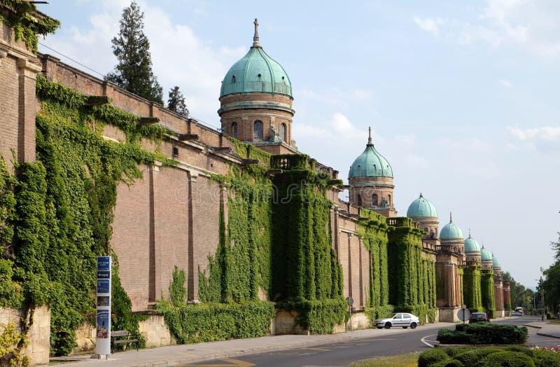 Monumental architecture of Mirogoj cemetery arcades in Zagreb royalty free stock photography