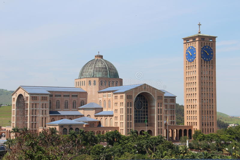 The monumental Cathedral of Aparecida do Norte royalty free stock images