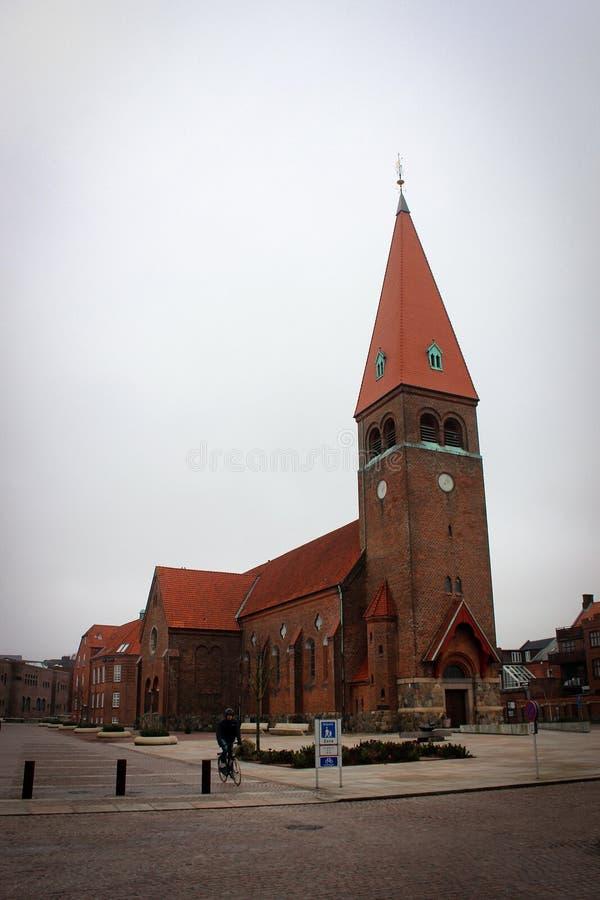 Monumental Church in Holstebro, Denmark. View of Monumental Church on central square in Holstebro, Denmark stock images